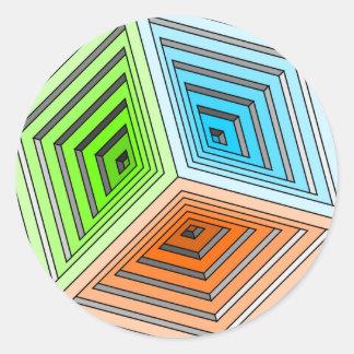 Abstrakt kub 3D Runt Klistermärke