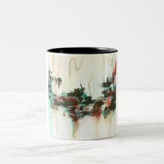 Abstrakt landskap konst som målar röd krickabrunt Två-Tonad mugg