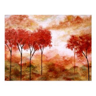 Abstrakt landskap måla för träd för konst rött vykort
