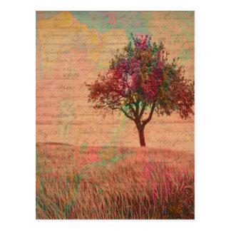 Abstrakt landskap ord för äng för konstpastellträd vykort