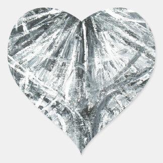 Abstrakt ljuskrona (abstrakt expressionism) hjärtformat klistermärke