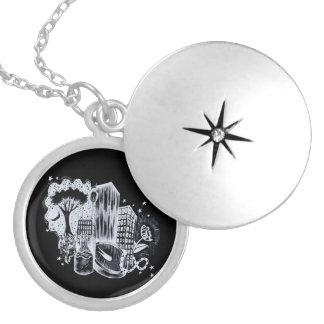 Abstrakt Locket för Starlight Silverpläterat Halsband