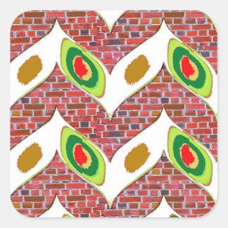 Abstrakt lövdesign på gåvan för fyrkantigt klistermärke