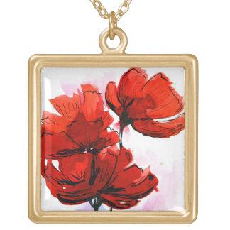 Abstrakt målad blom- bakgrund 2 guldpläterat halsband