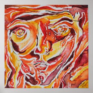 Abstrakt målning av ett ansikte, akryl på kanfas poster