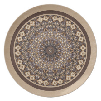 Abstrakt Mandala för kaffefärger Tallrik