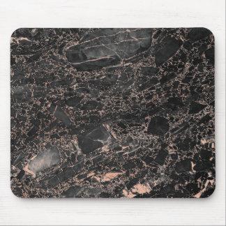 Abstrakt marmor för svart för guld för rosa musmatta