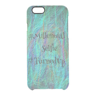Abstrakt Millennial Selfie TurnedUp för blått Clear iPhone 6/6S Skal