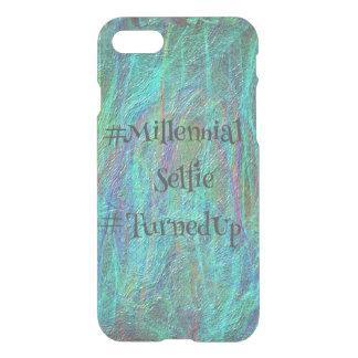 Abstrakt Millennial Selfie TurnedUp för blått iPhone 7 Skal