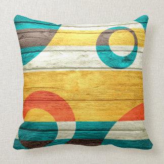 Abstrakt modernt pastellfärgat trä kudde