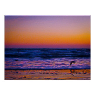 Abstrakt morgongryning på den Atlantic Ocean konst Poster