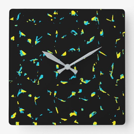 Abstrakt mörkt mönster för Splatter Fyrkantig Klocka