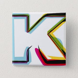 Abstrakt och färgrikt brev K Standard Kanpp Fyrkantig 5.1 Cm