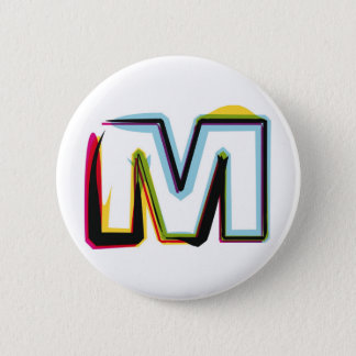 Abstrakt och färgrikt brev M Standard Knapp Rund 5.7 Cm