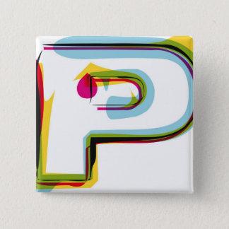 Abstrakt och färgrikt brev P Standard Kanpp Fyrkantig 5.1 Cm