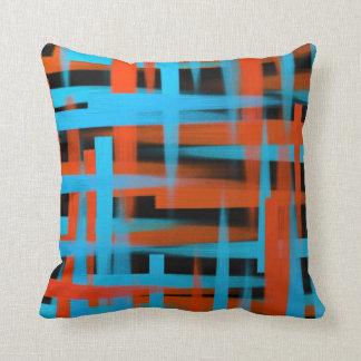 Abstrakt olja borstar slår i orange och blått kudde