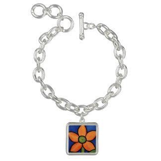 Abstrakt orange blomma armband