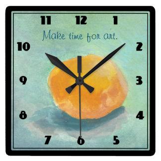 Abstrakt orange Spherestilleben i vattenfärg Fyrkantig Klocka