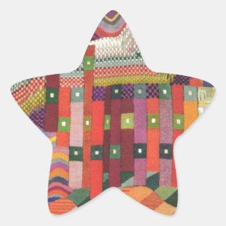 Abstrakt patchworkdesign stjärnformat klistermärke