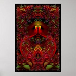Abstrakt Psychedelic Fractalkonst för underland Poster