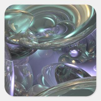 Abstrakt reflexionsdesign fyrkantigt klistermärke