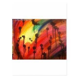 abstrakt regnbåge med svart droppandear vykort