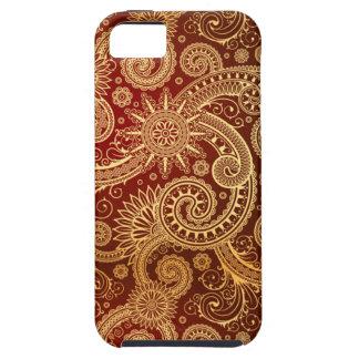 Abstrakt röd och guld- blommönster iPhone 5 cases