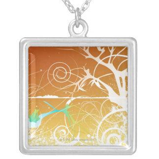 Abstrakt röra sig i spiral och virvlar runt silverpläterat halsband