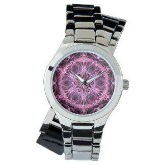 Abstrakt rosa- och blåttFractal Armbandsur