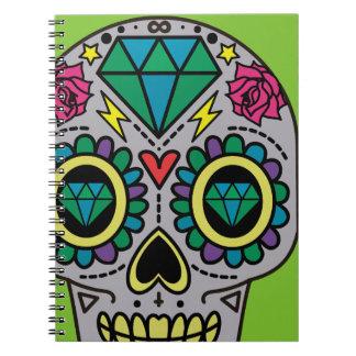 Abstrakt skraj färgrik sockerskalle anteckningsbok