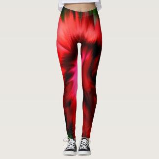 Abstrakt skuggar av rött och rosa leggings