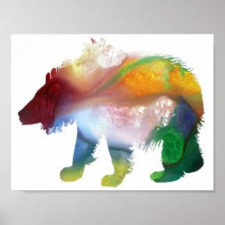 Abstrakt slothbjörnsilhouette poster