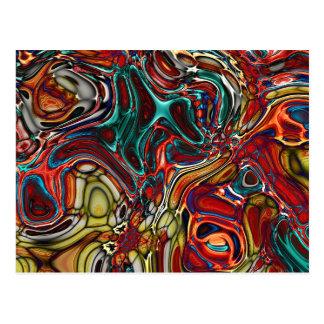 Abstrakt slumpmässig färgbassäng vykort