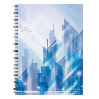 Abstrakt stadsanteckningsbok för blått anteckningsbok med spiral