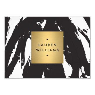 Abstrakt svart penseldrag med guld- Notecard 11,4 X 15,9 Cm Inbjudningskort