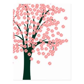 Abstrakt träd för rosor vykort
