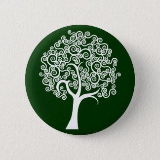 Abstrakt träd för vit standard knapp rund 5.7 cm