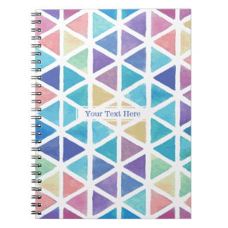 Abstrakt trianglar för vattenfärg (korallreven anteckningsbok med spiral