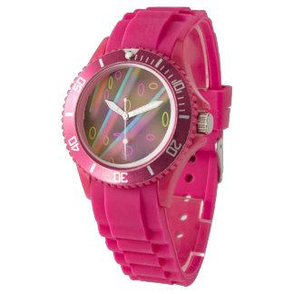 abstrakt trippy retro rosa klocka för neon