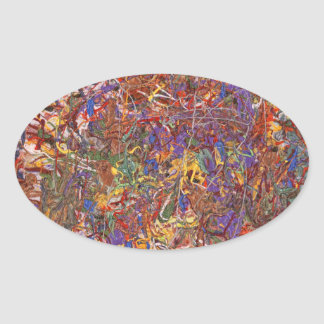 Abstrakt - tyg måla - stränga teorin ovala klistermärken