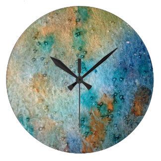 abstrakt vattenfärg, blått, orangegult stor klocka