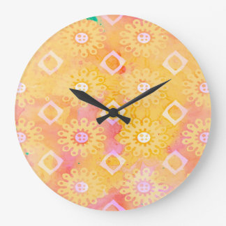 Abstrakt vattenfärg för för bakgrundsgultvit & stor klocka