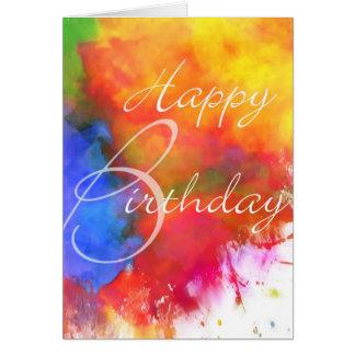 Abstrakt vattenfärgfödelsedagkort hälsningskort
