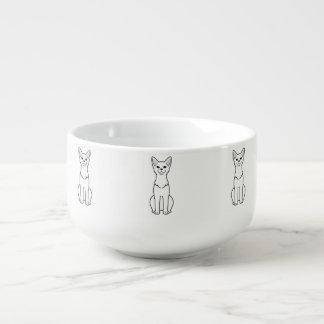 Abyssinian katttecknad stor kopp för soppa