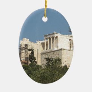 Acropolis av Athens arkitektur av forntida Ovalformad Julgransprydnad I Keramik