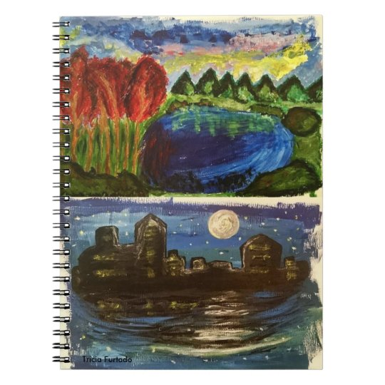 Acrylic landscape & night town paintings note book anteckningsbok med spiral