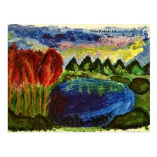 Acrylic landscape postcard vykort