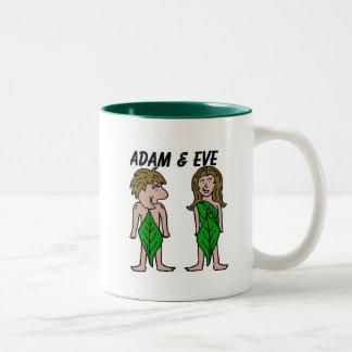 Adam och kväll Två-Tonad mugg