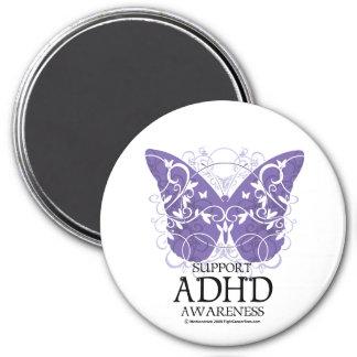 ADHD-fjäril Magnet Rund 7.6 Cm