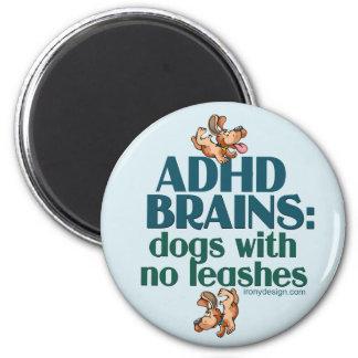 ADHD-HJÄRNOR (blått) Magnet Rund 5.7 Cm